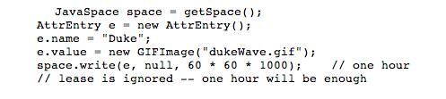 JavaSpace code example